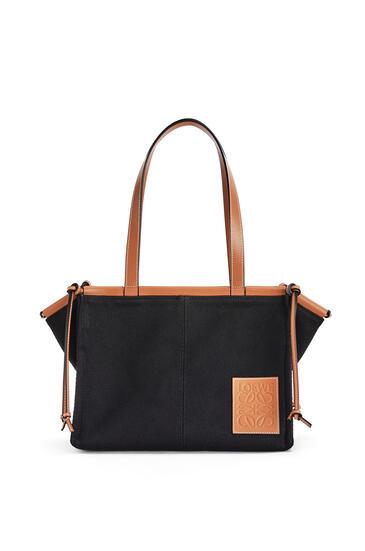 LOEWE 小号帆布和牛皮革 Cushion Tote 手袋 黑色/棕褐色 pdp_rd