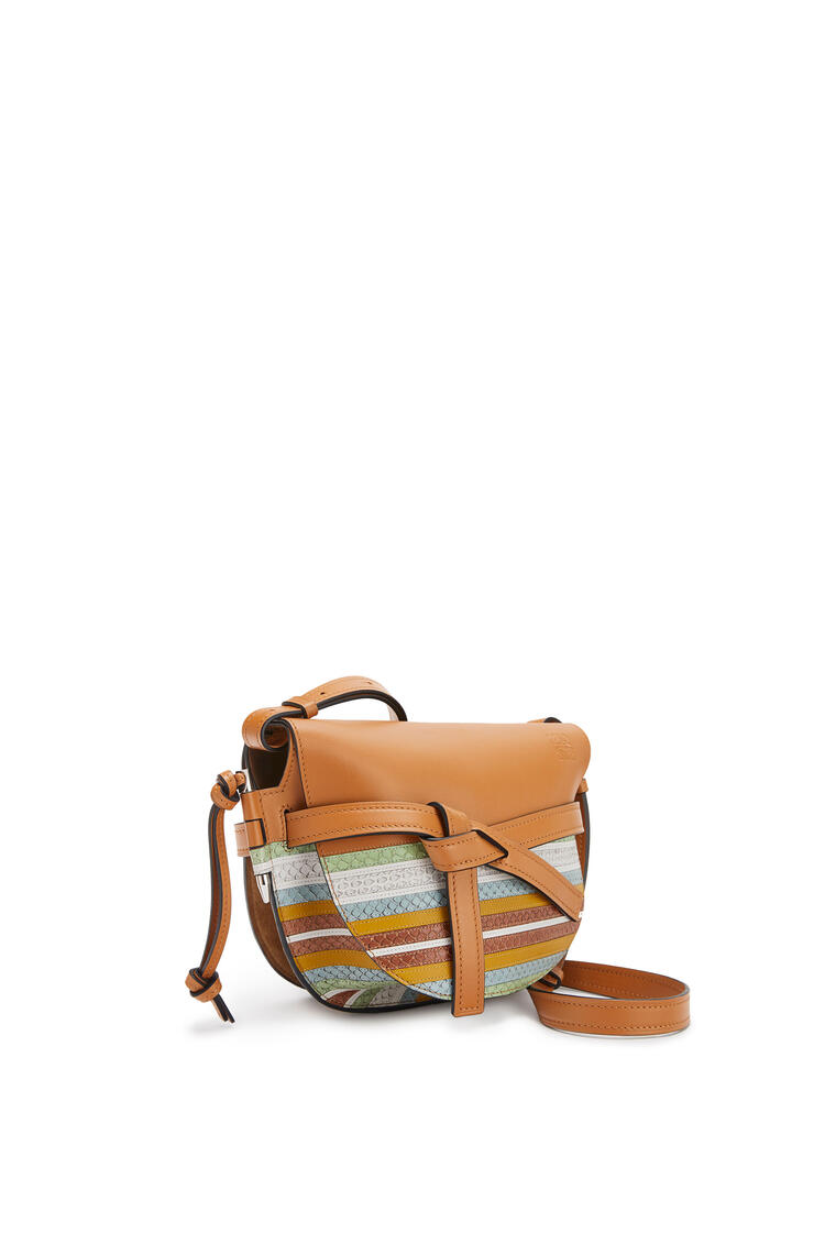 LOEWE Small Gate Bag In Calfskin And Snakeskin Honey/Multicolor pdp_rd