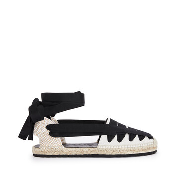 LOEWE Ribbon Espadrille In Canvas Black/White front