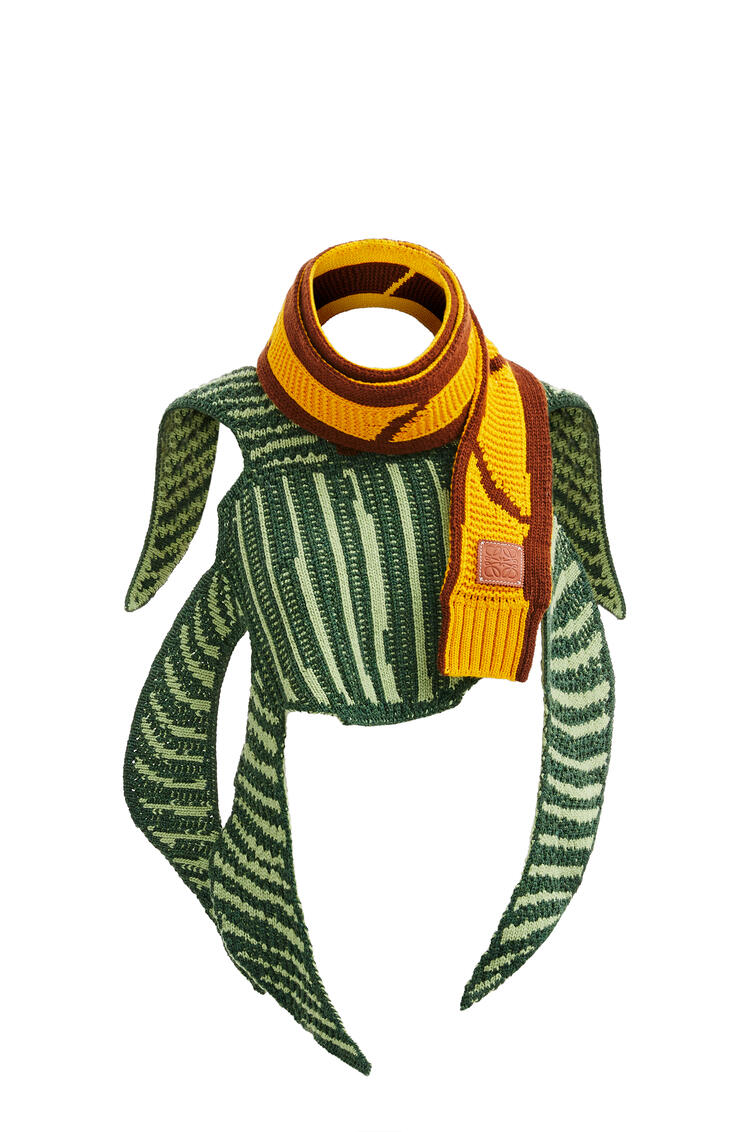 LOEWE La Palme knitted scarf in wool and cashmere Green/Brown pdp_rd