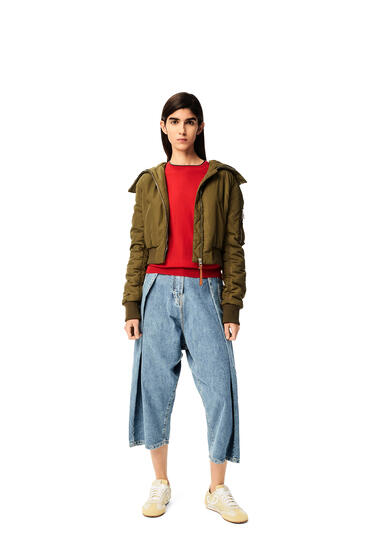 LOEWE Cropped bomber jacket in polyester Forest Green pdp_rd