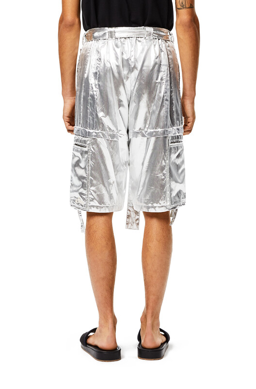 LOEWE Silver Cargo Shorts In Polyester And Silk Silver front