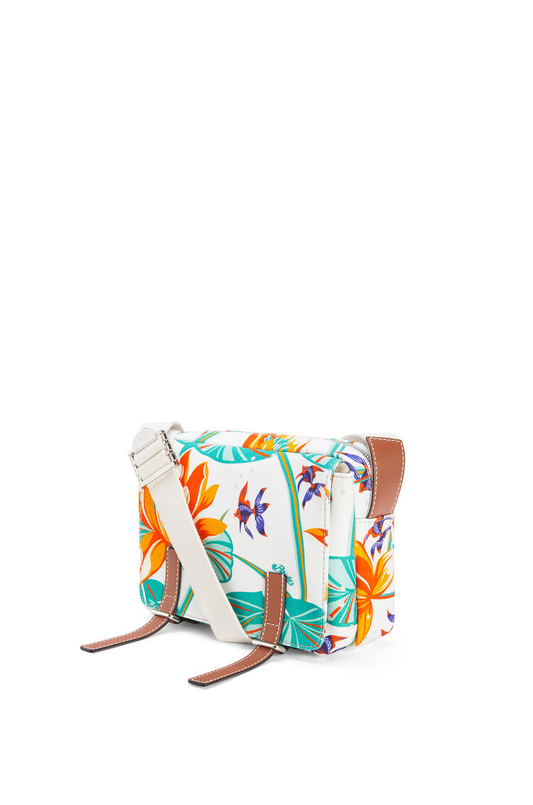 LOEWE XS Military Messenger bag in printed canvas and calfskin White pdp_rd