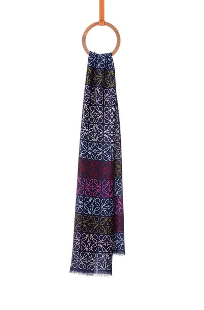 LOEWE 45X200 Scarf Anagram In Lines Navy Blue/Multicolor front