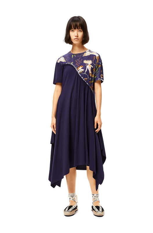 LOEWE Braided Asymmetrical Dress In Mermaid Cotton Navy Blue front