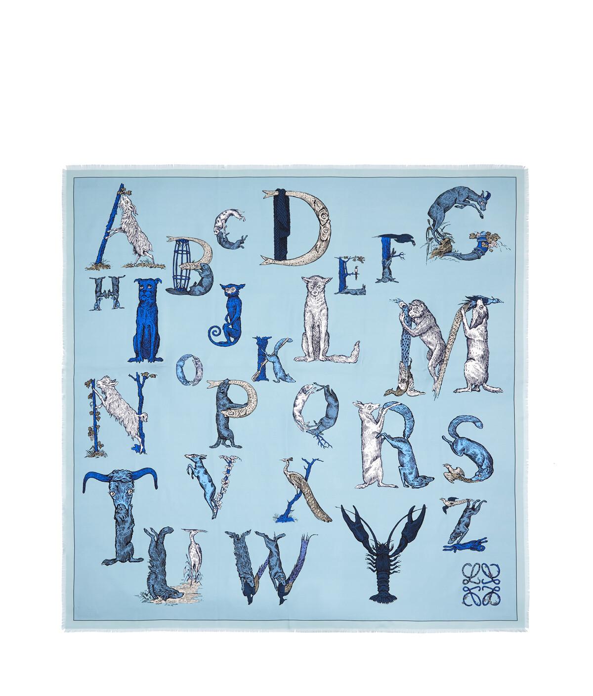 LOEWE 140X140 Scarf Alphabet Light Blue front