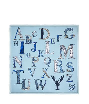 LOEWE 140X140 Scarf Alphabet 淺藍 front