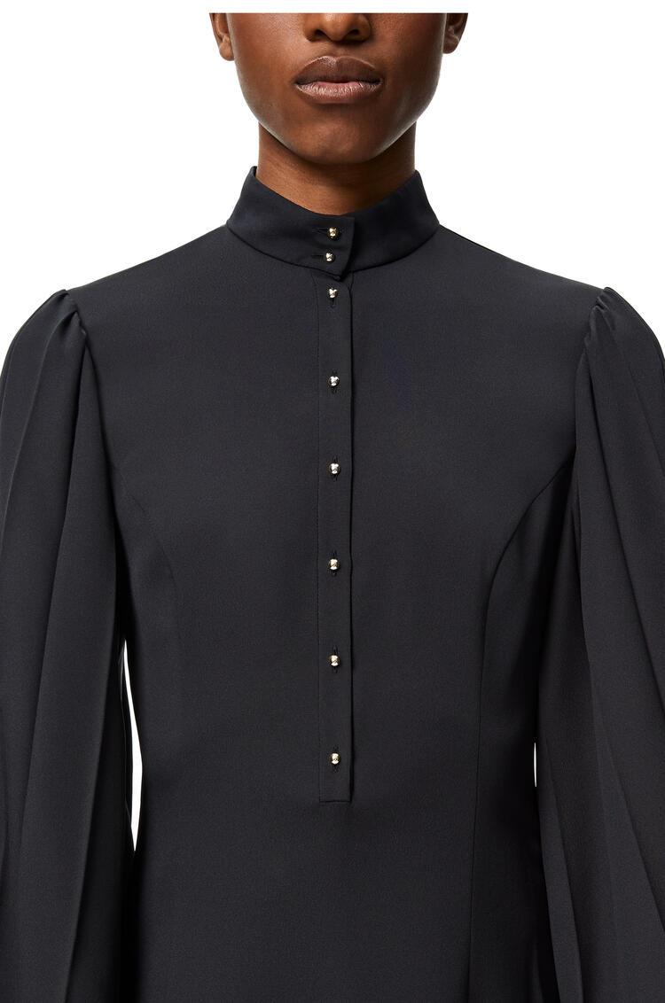 LOEWE Vestido midi en algodón y seda con mangas plisadas Marino Oscuro pdp_rd