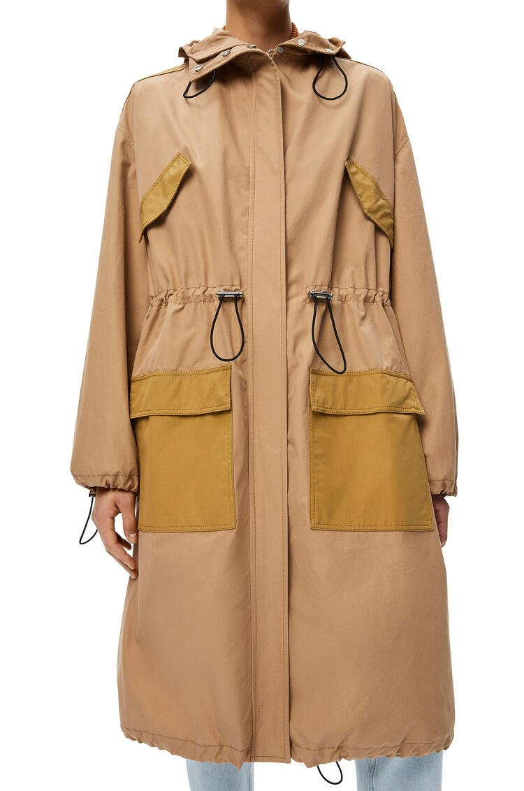 LOEWE Drawstring long parka in cotton Sweet Caramel pdp_rd