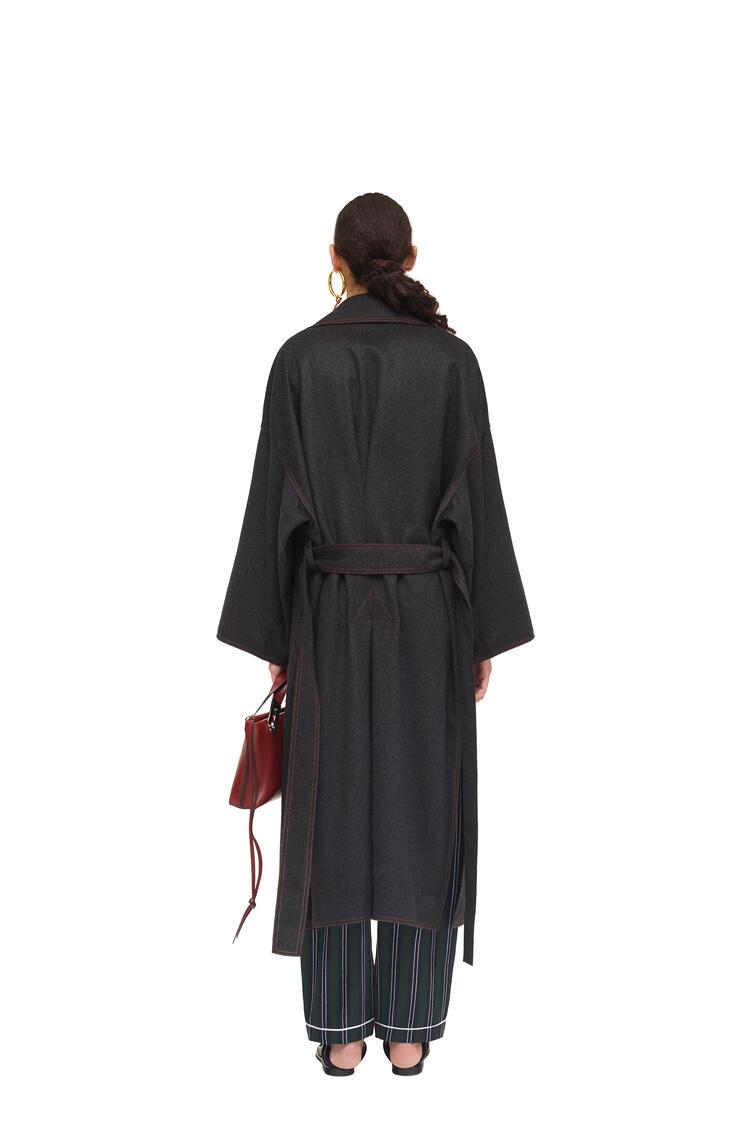 LOEWE Oversize belted coat in cashmere and silk Grey Melange pdp_rd