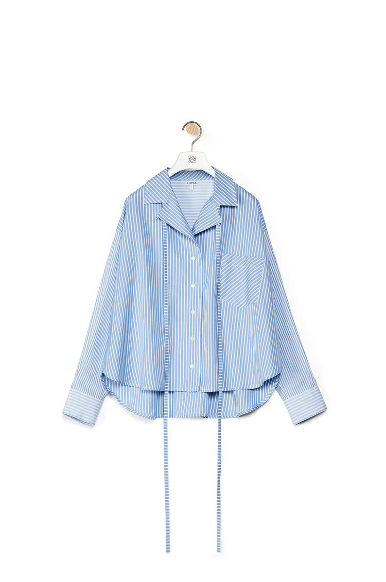 LOEWE Pyjama blouse in striped cotton White/Blue pdp_rd