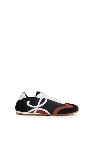 LOEWE Ballet runner in nylon and leather Black/White/Brown pdp_rd