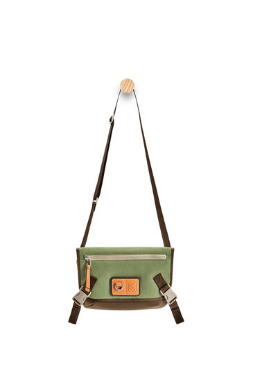 LOEWE Small Messenger bag in canvas Khaki Green pdp_rd