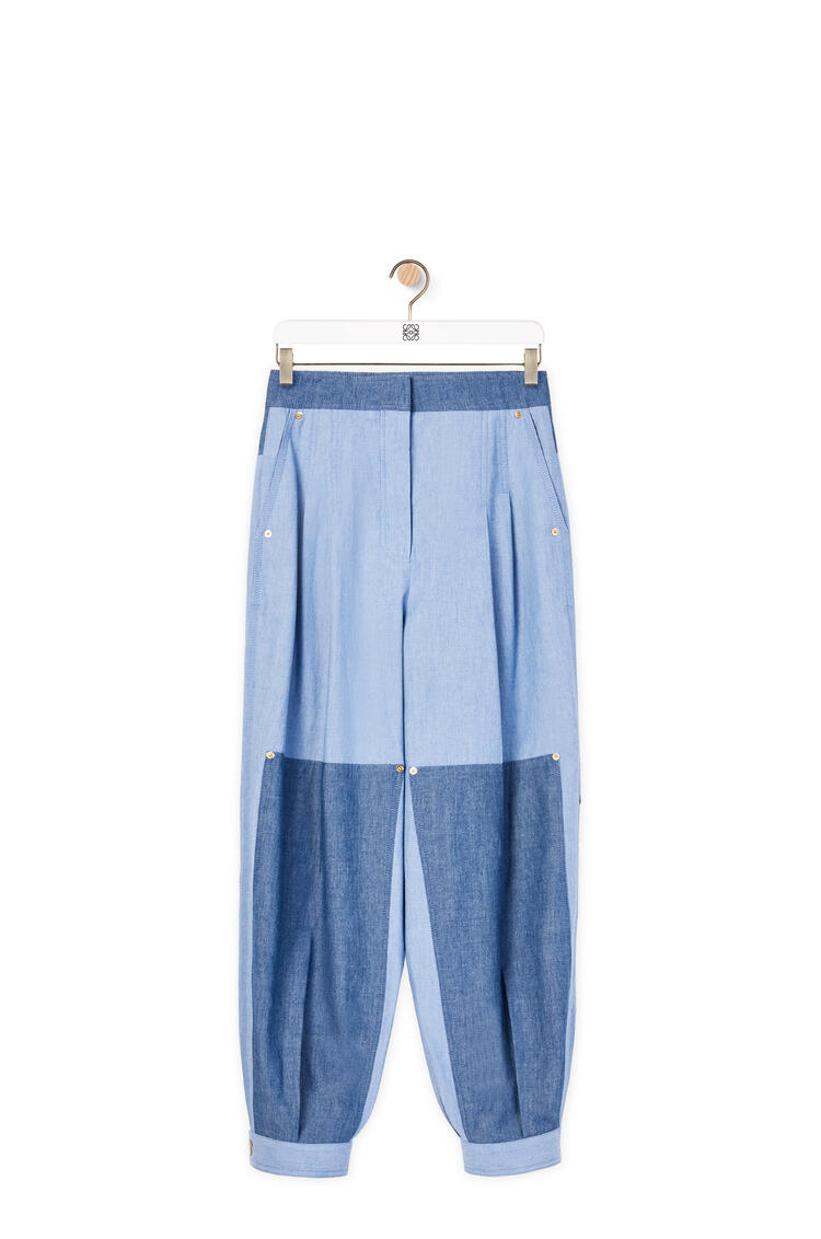 LOEWE Cropped chambray balloon trousers Blue pdp_rd