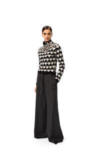 LOEWE Rhinestone neck sweater in wool Black/Grey/White pdp_rd