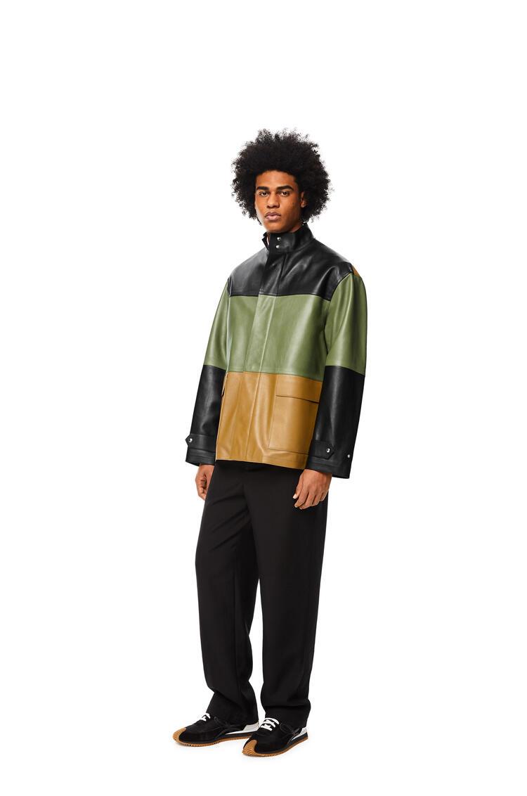 LOEWE Patchwork jacket in nappa Black/Khaki Green/Tan pdp_rd