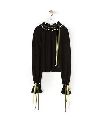 LOEWE Drawstring Balloon Slv Sweater ブラック front