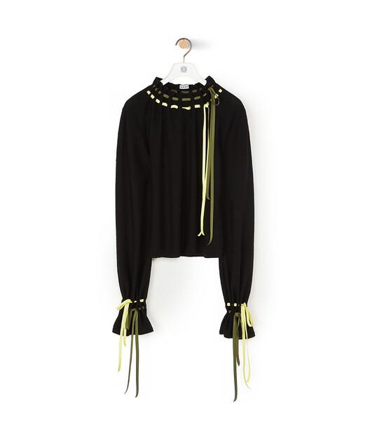 LOEWE Drawstring Balloon Slv Sweater Black front