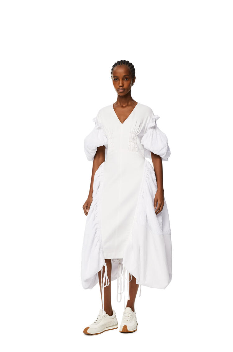 LOEWE Vestido en algodón con manga abullonada Blanco pdp_rd