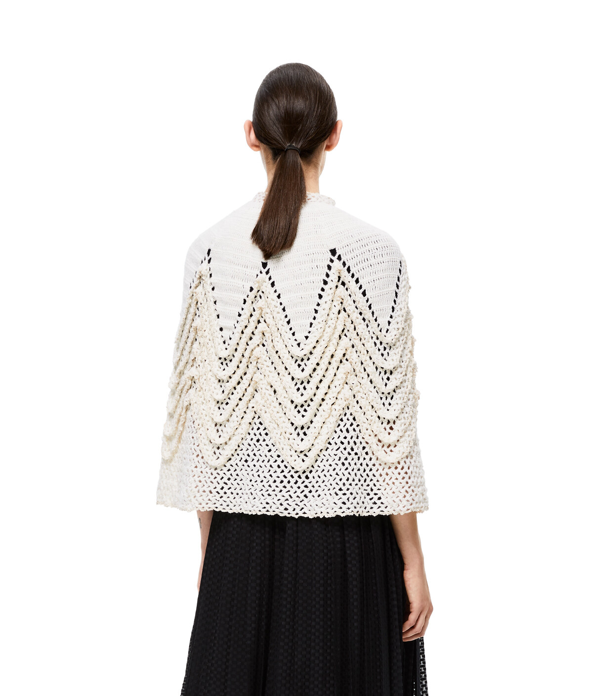LOEWE Knit Crochet Cape White front