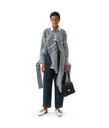 LOEWE Check Asymmetric Blouse Negro/Blanco front