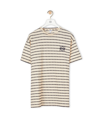 LOEWE Stripe Anagram T-Shirt Ecru/Navy Blue front