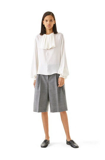LOEWE Lavaliere Rib Collar Top White front