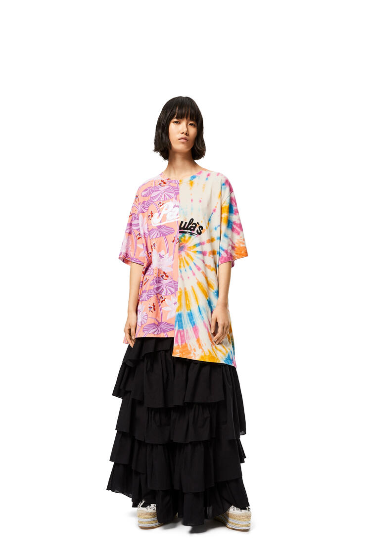 LOEWE Asymmetric oversize T-shirt in waterlily cotton Salmon/Multicolor pdp_rd