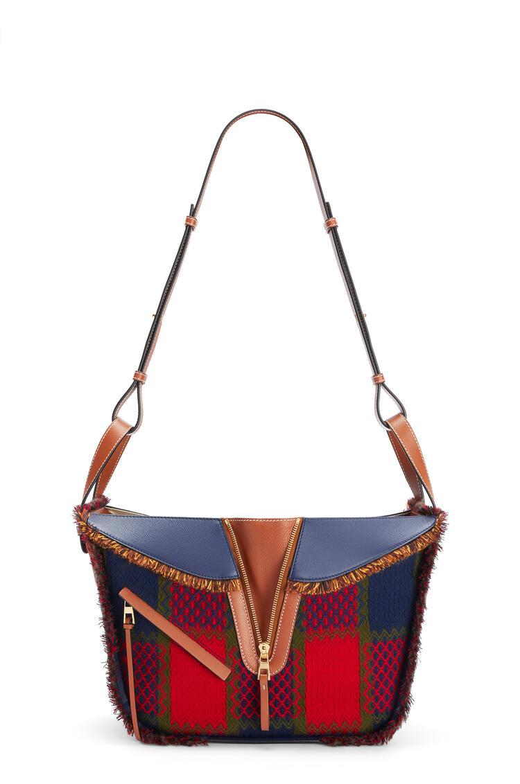 LOEWE Small Hammock bag in tartan and calfskin Red pdp_rd