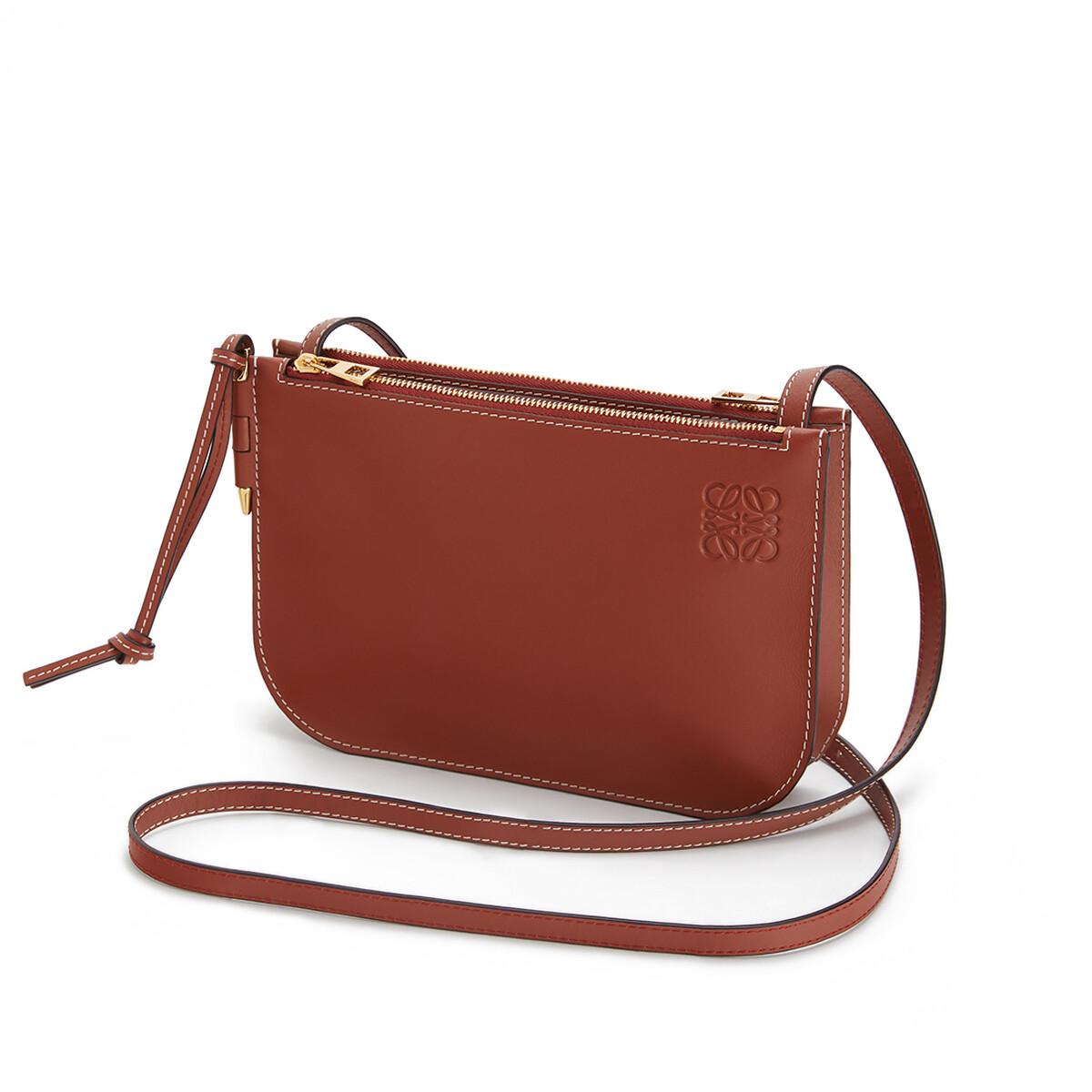 LOEWE Gate Double Zip Pouch ラスティーカラー front