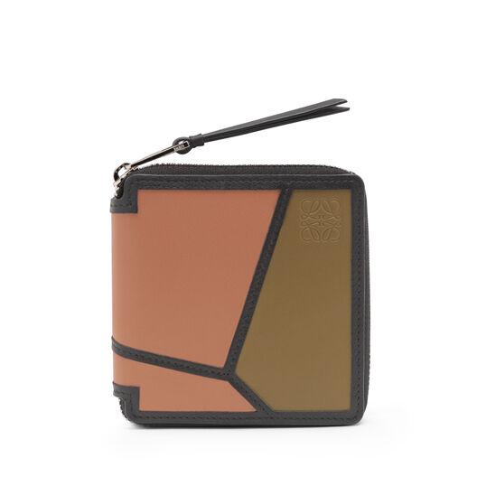 LOEWE Puzzle Square Zip Wallet Pink Tulip/Mocca front