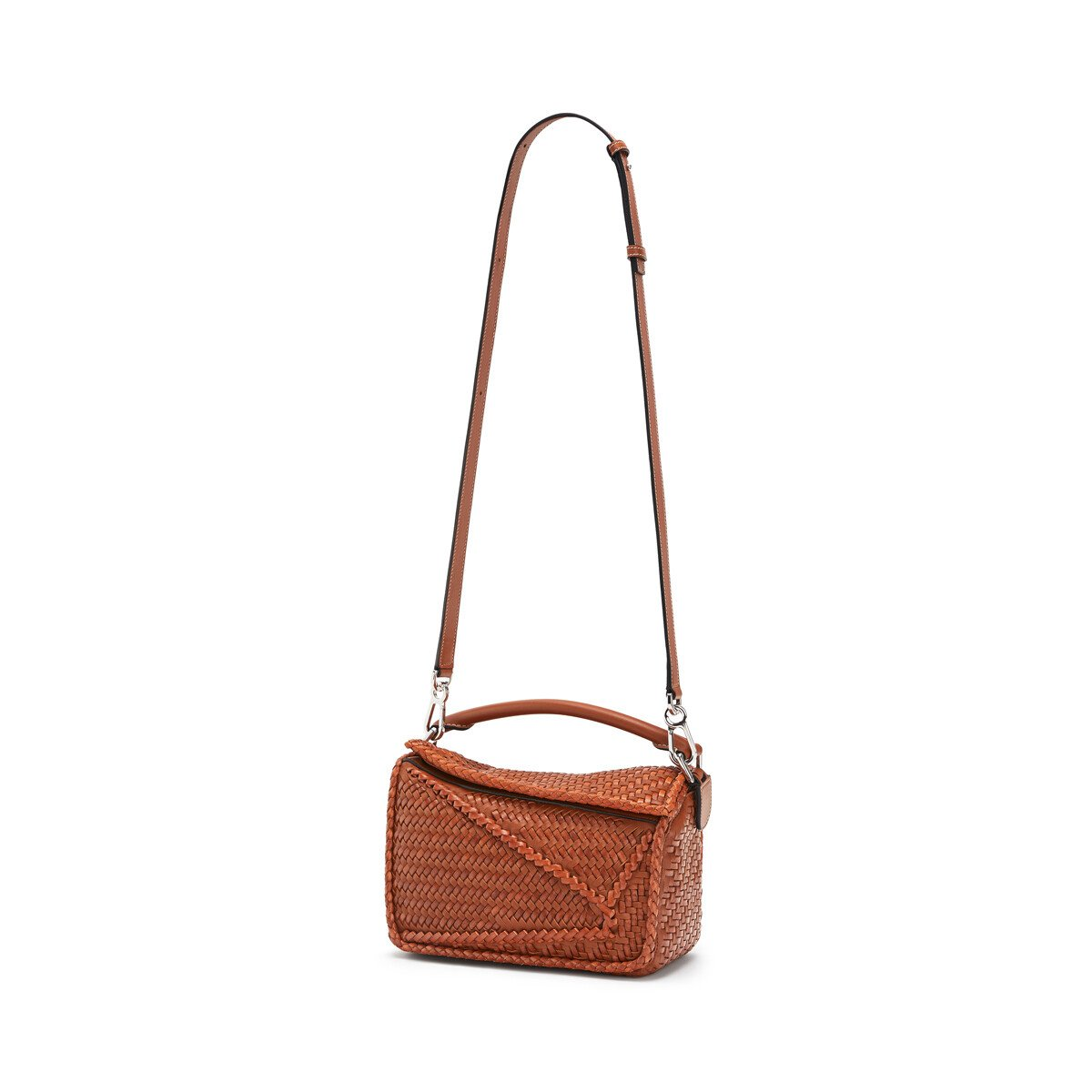LOEWE Puzzle Woven Small Bag Tan front