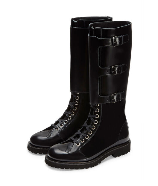 LOEWE Lace Up Knee Boot Black front