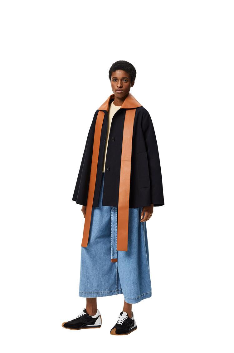 LOEWE Chaqueta en algodón con cuello de piel Marino pdp_rd