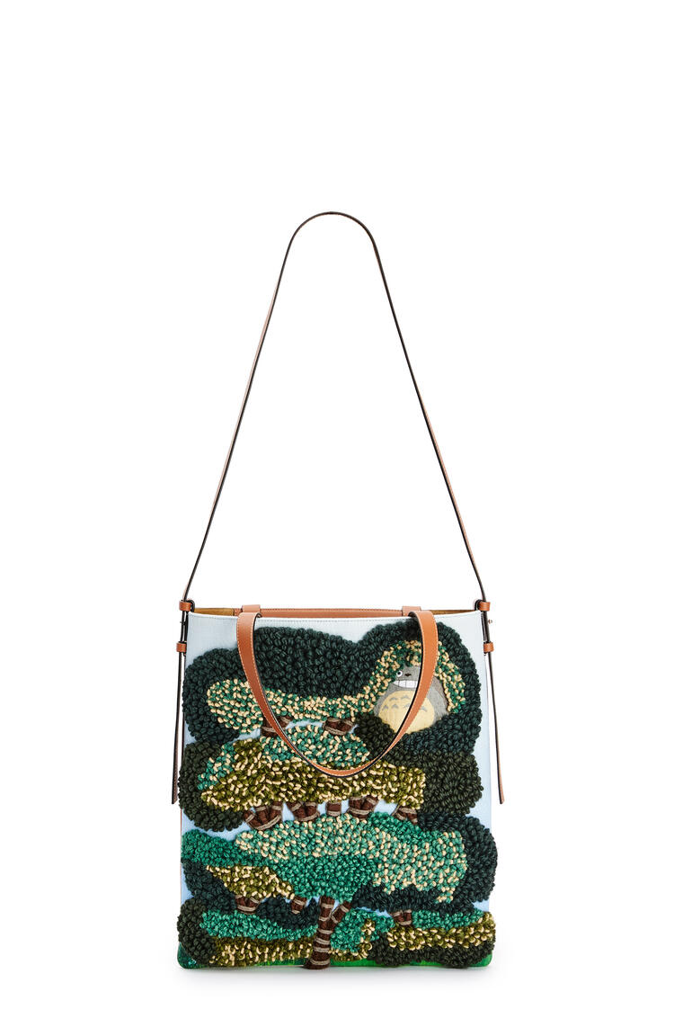 LOEWE Totoro Vertical Tote bag in textile and calfskin Light Blue pdp_rd