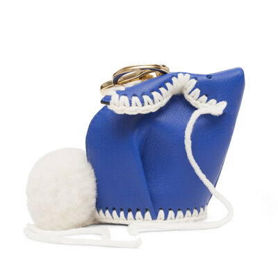 LOEWE Bunny Macrame Charm Electric Blue/White front
