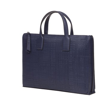 LOEWE Goya Simple Briefcase Navy Blue front