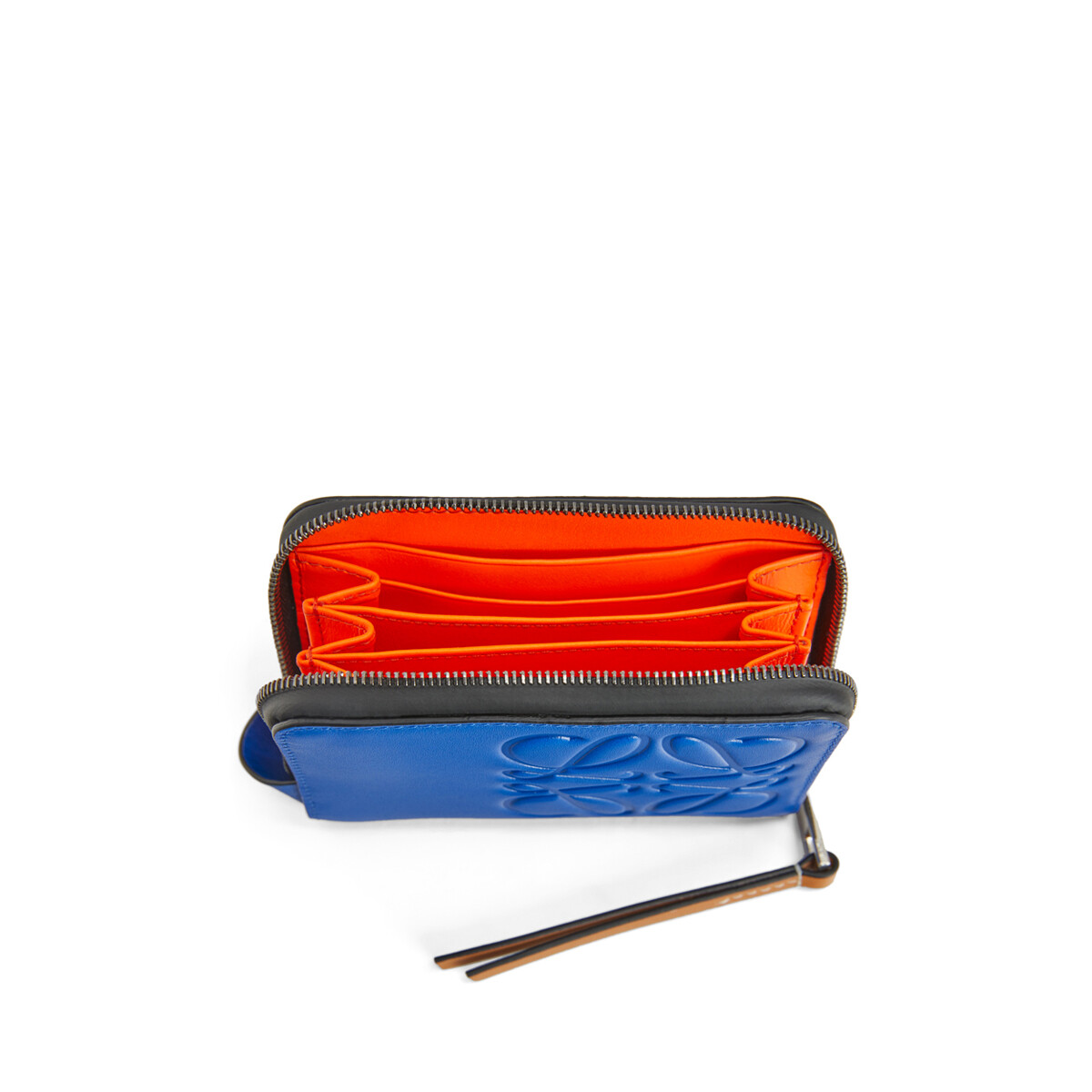 LOEWE Brand 6 Card Zip Wallet Electric Blue/Orange front