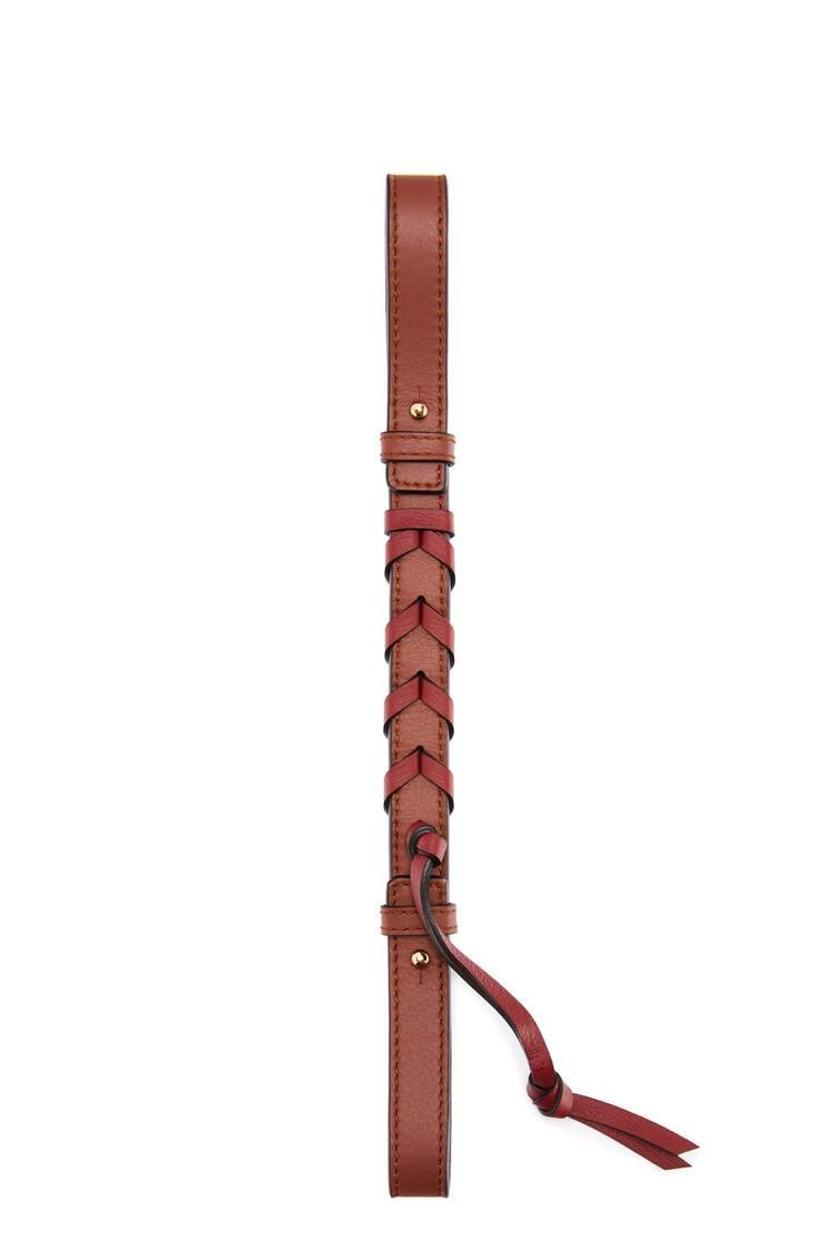 LOEWE Short braided strap in classic calfskin Dark Rust/Deep Red pdp_rd