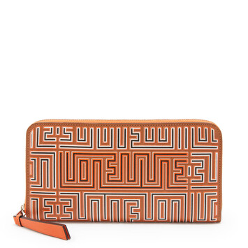 LOEWE Maze Zip Around Wallet Tan/Orange front