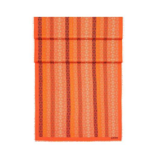LOEWE 70X200 スカーフアナグラムINライン オレンジ/マルチカラー front