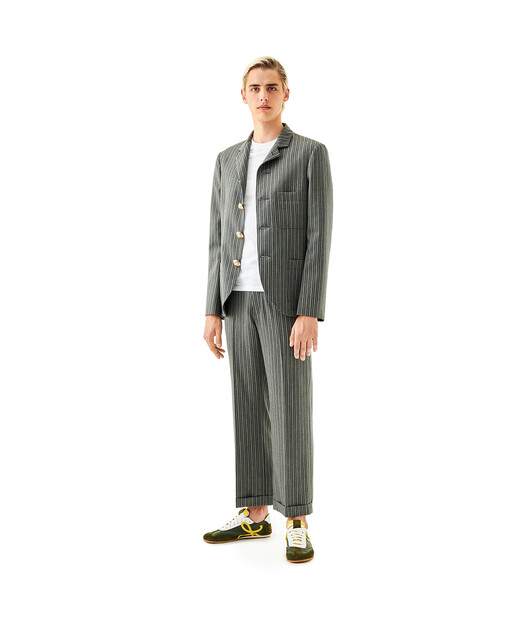 LOEWE 4 Button Stripe Jacket Grey front