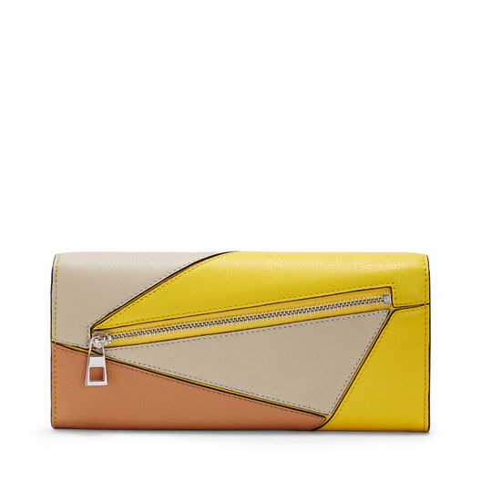 LOEWE Puzzle Continental Wallet Yellow/Powder all