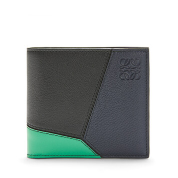 LOEWE Billetero C/Monedero Puzzle Azul Profundo/Verde front