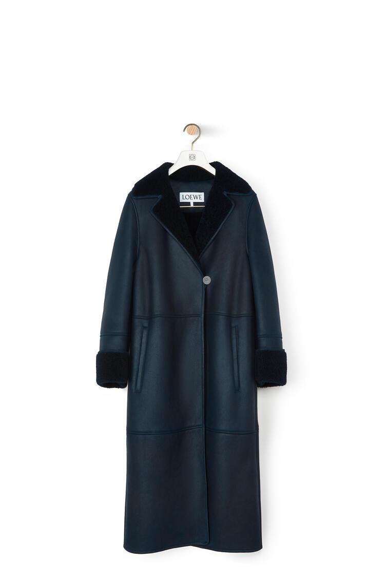 LOEWE Shearling Coat In Novack Navy Blue/Navy Blue pdp_rd