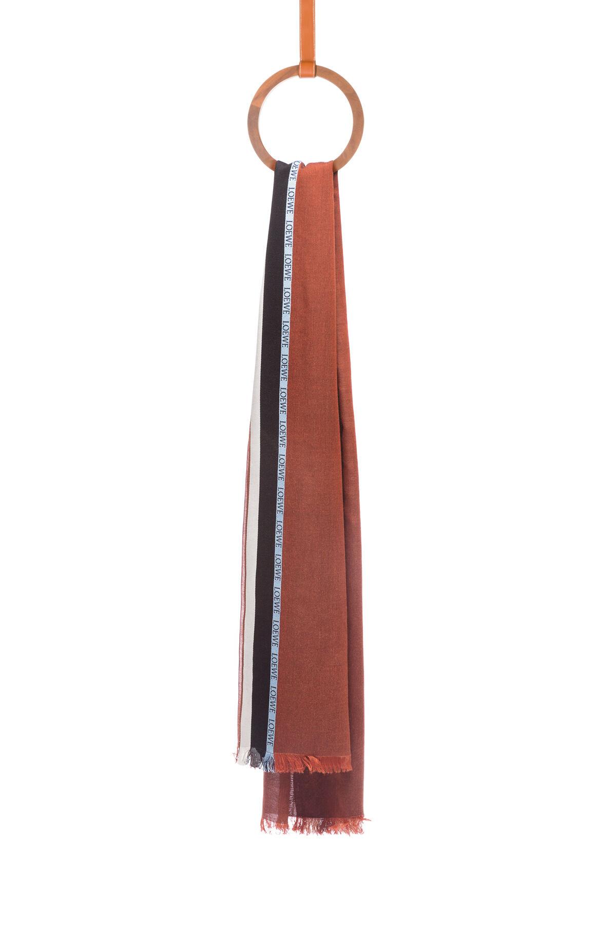 LOEWE 70X200 スカーフ ロエベ ボーダー チョコレート all