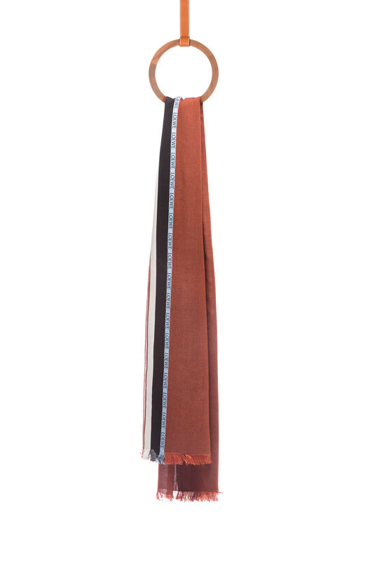 LOEWE 70X200 Scarf Loewe Border Chocolate all