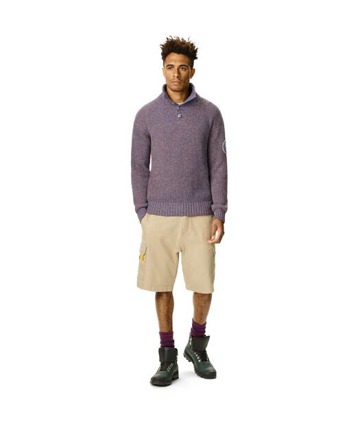 LOEWE Eln Melange High Neck Sweater Navy Blue front