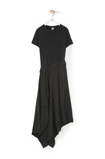 LOEWE Satin & Jersey T-Shirt Dress 黑色 front
