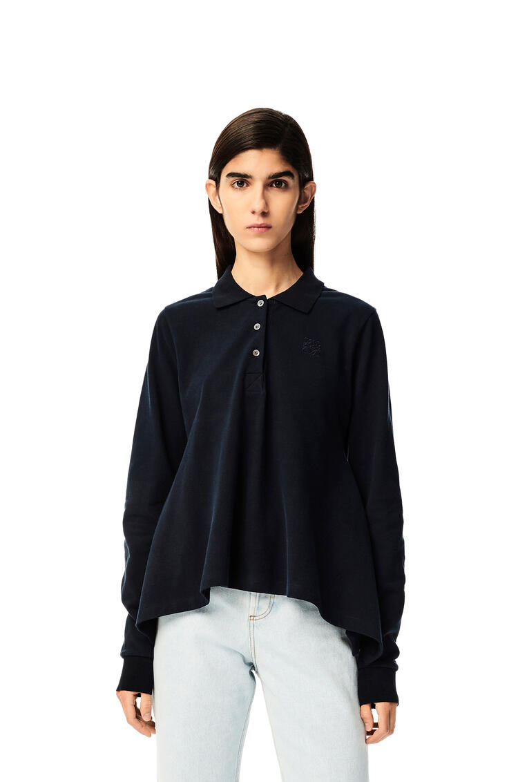 LOEWE Anagram embroidered polo collar top in cotton Navy Blue pdp_rd